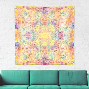 Napfonat Csakra mandala textil / falidekoráció / terítő / pamuttextil / jógaszobába / meditációhoz / függöny, Otthon & lakás, Dekoráció, Gobelin, Fotó, grafika, rajz, illusztráció, Csakra Mandala sorozatom utolsó pamut textil darabjait mutatom be. Digitálisan rajzoltam meg minden ..., Meska