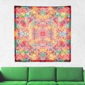 Gyökér Csakra mandala textil / falidekoráció / terítő / pamuttextil / jógaszobába / meditációhoz / függöny, Otthon & lakás, Dekoráció, Gobelin, Fotó, grafika, rajz, illusztráció, Csakra Mandala sorozatom utolsó pamut textil darabjait mutatom be. Digitálisan rajzoltam meg minden ..., Meska