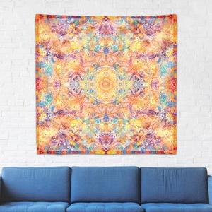 Szakrális Csakra mandala textil / falidekoráció / terítő / pamuttextil / jógaszobába / meditációhoz / függöny, Otthon & lakás, Dekoráció, Gobelin, Fotó, grafika, rajz, illusztráció, Csakra Mandala sorozatom utolsó pamut textil darabjait mutatom be. Digitálisan rajzoltam meg minden ..., Meska