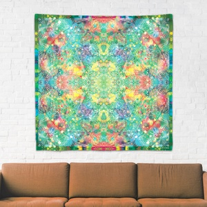 Szív Csakra mandala textil / falidekoráció / terítő / pamuttextil / jógaszobába / meditációhoz / függöny, Otthon & lakás, Dekoráció, Gobelin, Fotó, grafika, rajz, illusztráció, Csakra Mandala sorozatom utolsó pamut textil darabjait mutatom be. Digitálisan rajzoltam meg minden ..., Meska