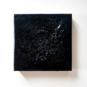 Ásvánnyal kis absztrakt festmény - fekete csillogó igazi eredeti ásvánnyal, Művészet, Festmény, Festmény vegyes technika, Festészet, A kép mérete 9 x 9 cm\n\nKartonfedőre készült fekete alapon, csillámmal megszórva.\nA kép különlegesség..., Meska