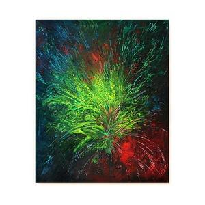 Absztrakt festmény - Dzsungel inspiráció, Művészet, Festmény, Festmény vegyes technika, Festészet, A kép mérete 25 x 30 cm\n\nVászonra készült festmény akril, pigmentpor és üvegfesték használatával.\n\n\n..., Meska