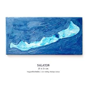 Balaton festmény / egyedi, csillogó, kék, művészi, Művészet, Festmény, Festmény vegyes technika, Budapesten személyesen átvehető akár 1-2 nap alatt! Postázásra kerülhet akár 2 munkanap alatt.  Kedv..., Meska