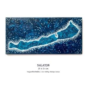 Balaton festmény / 28 x 14 cm / csillogó, kék, művészi / éjszaka, csillagok, mozaikos, sötétkék, metálkék, Művészet, Festmény, Festmény vegyes technika, Budapesten személyesen átvehető akár 1-2 nap alatt! Postázásra kerülhet akár 2 munkanap alatt.  Kedv..., Meska