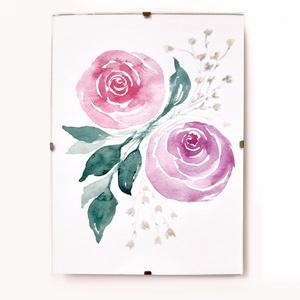 Akvarell rózsák // virág / rózsa / szeretet / festmény / anyák napjára, Művészet, Festmény, Akvarell, Újabban kedves akvarell képeket is készítek.  Kép mérete: 13 x 18 cm A keret Ikea termék. Bármi kérd..., Meska