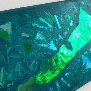 Balaton festmény / 28 x 14 cm / hologramos, művészi / mozaikos, mélyzöld, türkíz,  - Meska.hu