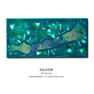 Balaton festmény / 28 x 14 cm / hologramos, művészi / mozaikos, mélyzöld, türkíz, , Művészet, Festmény, Festmény vegyes technika, Budapesten személyesen átvehető akár 1-2 nap alatt! Postázásra kerülhet akár 2 munkanap alatt.  Kedv..., Meska
