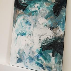 80x60 cm türkiz absztrakt festmény (ArtLizDesign) - Meska.hu
