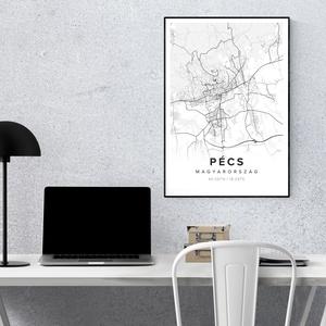 Pécs Térkép - Minimál stílus - Falikép A4, Kép & Falikép, Dekoráció, Otthon & Lakás, Fotó, grafika, rajz, illusztráció, Pécs Térkép Minimál\n\nMinimál stílusú fali térképek magyar és határon túli városokról és falvakról. H..., Meska