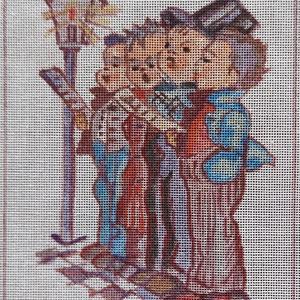 """Gobelin alap, Művészet, Más művészeti ág, Festészet, Gobelin alap   \""""Éneklő kisfiúk\"""" kézzel festett egyedi művészi alkotás.\nMéret: 14*18 cm, Meska"""