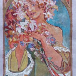 """Gobelin alap, Művészet, Más művészeti ág, Festészet, Gobelin alap \"""" Hölgy virággal\"""" Kézzel festett  egyedi művészi alkotás.\nMéret 18*28 cm, Meska"""