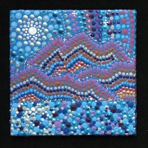 Telihold a Grand Canyonban miniatűr, hűtőmágnes, falikép, Otthon & lakás, Dekoráció, Kép, Képzőművészet, Festmény, Akril, Konyhafelszerelés, Hűtőmágnes, Festészet, Festett tárgyak, Akril festékkel készült 6x6 cm-es miniatűr kép, aprólékos pontfestési eljárással. Alkalmas hűtőmágne..., Meska