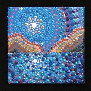 Holdtölte-tótükre a Grand Canyonban, Otthon & lakás, Dekoráció, Kép, Képzőművészet, Festmény, Akril, Konyhafelszerelés, Hűtőmágnes, Festészet, Ez a miniatűr mandala kitűnő eleme egy dekoratív lakásnak.\nAkril festékkel készült 5x5 cm-es miniatű..., Meska