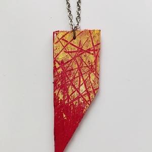 Vivid, Ékszer, Nyaklánc, Festett tárgyak, Fából készült, kézzel festett nyaklánc, melyet feszített vászon rámaék újrahasznosításával alkottam ..., Meska