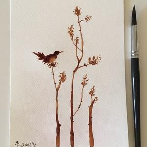A madár dala, Művészet, Festmény, Akvarell, Festészet, Fotó, grafika, rajz, illusztráció, Az ágon ülő madár soha nem fél tőle hogy eltörhet az ág, mert bizalma nem az ágban, hanem a saját sz..., Meska