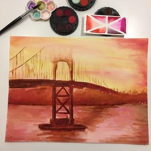 Tűz!, Művészet, Festmény, Akvarell, Előtérben a Golden Gate híd, izzó forróság, füst a levegőben. Ha egy igazán tüzes képre vágysz, akko..., Meska