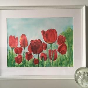 Piros tulipánok, Művészet, Festmény, Akvarell, Ismersz valakit, akinek a kedvence a tulipán? Lepd meg őt ezzel a képpel és örökké az otthona dísze ..., Meska