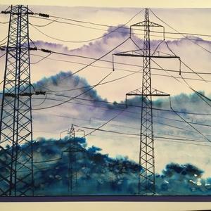 Kék hegyek, Művészet, Festmény, Akvarell, A hegyek szerelmeseinek. Eredeti Bajzát Rita alkotás. 30x40 cm Akvarell 300 g/m2 Fabriano papíron, k..., Meska