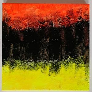 Neon, Művészet, Festmény, Festmény vegyes technika, Festészet, 40x40cm feszített vászonra készült erősen struktúrált absztrakt, csillogó kép, rikító színekkel. Műg..., Meska