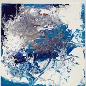 Óceán, Művészet, Festmény, Festmény vegyes technika, Festészet, 60x60 cm feszített vászonra pouring technikával készült, enyhén csillogó, absztrakt kép, Meska