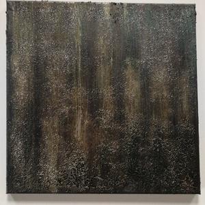 absztrakt, struktúrált , csillogó kép, Művészet, Festmény, Festmény vegyes technika, Festészet, 40x40cm feszített vászonra készült struktúrált, bronz,zöldesbarna, csillogó kép, Meska