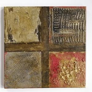 Ablak, Művészet, Festmény, Festmény vegyes technika, Festészet, 40x40 cm feszített vászonra készült erősen strukturált, kép. Aranyozással, diópácolással., Meska
