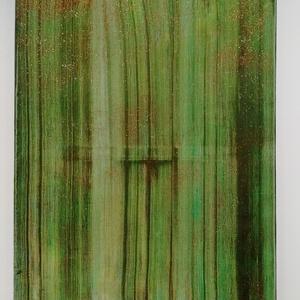 Zöld organza, Művészet, Festmény, Festmény vegyes technika, Festészet, 50x70 cm feszített vászonra készült, akril, csillogó absztrakt kép. Dominánsan zöld, piros csillogás..., Meska