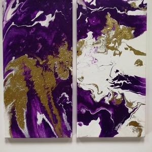 absztrakt pouring akril kép 2 részes, Művészet, Festmény, Festmény vegyes technika, Festészet, 2 db 25x50 cm-es feszített vászonra pouring technikával készült, enyhén struktúrált absztrakt kép..., Meska