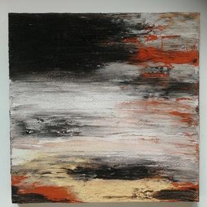 Fátyolfelfő, Művészet, Festmény, Festmény vegyes technika, Festészet, 50x50 cm feszített vászonra készült absztrakt, strukrúrált kép, föld színekkel., Meska