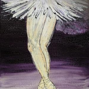 Balerina lábak, Művészet, Festmény, Festmény vegyes technika, Festészet, 100x70 cm feszített vászonra vegyes technikával készült kép., Meska