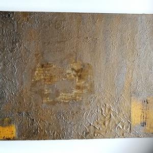 Pillangó, Művészet, Festmény, Festmény vegyes technika, Festészet, 50x70 cm feszített vászonra vegyes technikával készült, erősen struktúrált kép. Bronz áranyalataival..., Meska