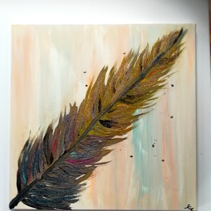 Toll, Művészet, Festmény, Festmény vegyes technika, Festészet, 50x50 cm feszített vászonra készült akril, csillogó kép, pasztell színes háttérrel, felületkezelve...., Meska