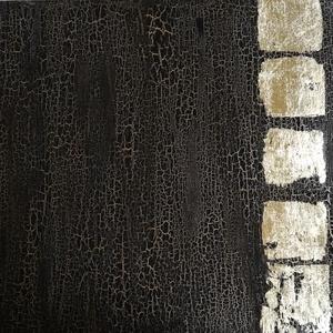 absztrakt kép, aranyozással, Művészet, Festmény, Festmény vegyes technika, Festészet, 100x70 cm feszített vászonravegyes technikával készült, absztrakt aranyozott kép.\nFekete-arany, aran..., Meska