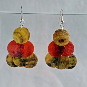 Kagyló flitter háromszög fülönfüggő - vörös-sárga (artsisters) - Meska.hu