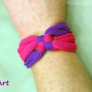 Kockás textil karkötő - pink-lila (artsisters) - Meska.hu