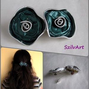 Kék virág duó - kávékapszula hajcsat, Táska, Divat & Szépség, Hajbavaló, Ruha, divat, Hajcsat, Újrahasznosított alapanyagból készült termékek, Ékszerkészítés, Kávékapszulák újrahasznosításával készítettem ezt a hajbavaló virág párost.\n\nAz alapja egy 5 cm hoss..., Meska