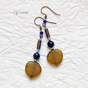 Rusztikus réz fülbevaló lápisz lazuli ásványgyöngyökkel, Ékszer, Lógó fülbevaló, Fülbevaló, Ékszerkészítés, Gyöngyfűzés, gyöngyhímzés, Meska