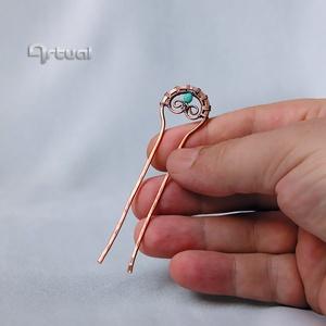 Kézműves réz hajtű türkiz színű gyönggyel - ruha & divat - hajdísz & hajcsat - hajcsat & hajtű - Meska.hu