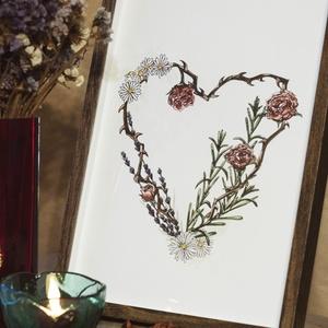 """Valentin-napi kollekció: \""""gyógynövény szív\"""" akvarell és fillctoll nyomat, Esküvő, Esküvői dekoráció, Otthon & lakás, Képzőművészet, Festmény, Akvarell, Festészet, Fotó, grafika, rajz, illusztráció, A kép A4-es (210mmx297mm) méretű. Keret nélküli. A kép általam készűlt akvarell festményből készült ..., Meska"""