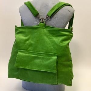 Zöldmező hátizsák-táska, Táska & Tok, Hátizsák, Hátizsák, Fűzöld Variálható hátizsák-táska mérete : 42cm x 35 cm ,cipzár hossza 34cm,belső zseb 20cm x 19 cm. ..., Meska