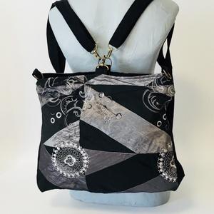 Hímzett éjszaka hátizsák-táska, Táska & Tok, Hátizsák, Hátizsák, Variálható hátizsák-táska mérete : 42cm x 35 cm ,cipzár hossza 34cm,belső zseb 20cm x 19 cm. Külső z..., Meska