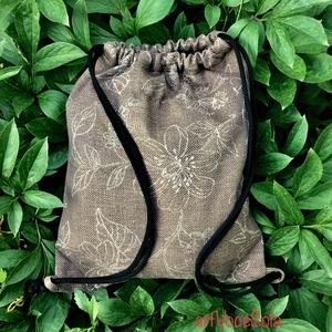 Virágzsák torna-hátizsák, Gymbag, Hátizsák, Táska & Tok, Varrás, Torna-hátizsák méretei: 43cm x 35cm; cipzárral záródó belsőzseb 17cm x 14cm., Meska