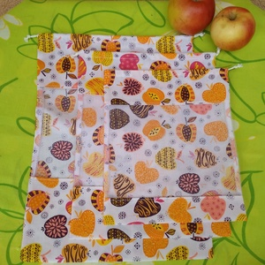 Arany alma mintás gyümölcs bevásárló zsákok, Táska, Divat & Szépség, NoWaste, Bevásárló zsákok, zacskók , Táska, Varrás, 3 darabos szettben kapható bevásárló zsákokat varrtam környezetbarát vásárlóknak, akik nem szeretnék..., Meska