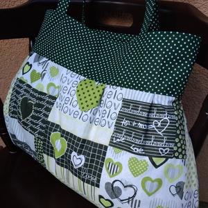 Zöld szíves bevásárló táska, szatyor , Táska, Divat & Szépség, Táska, Válltáska, oldaltáska, Szatyor, Varrás, Egy bevásárló táska is lehet stílusos és vidám, amit szívesen viszünk magunkkal. \nBélelve, egy darab..., Meska