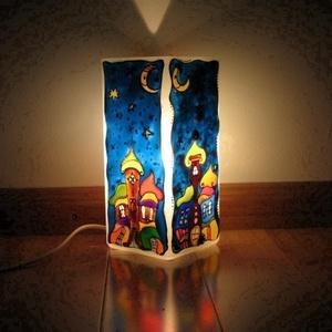 """MESELÁMPA Éjszakai Meseváros lámpa - festett üveg hangulat lámpa , Lakberendezés, Otthon & lakás, Lámpa, Üvegművészet, Festett tárgyak, MESELÁMPA - \""""Éjszakai Meseváros\"""" festett üveg hangulat lámpa, baba születésre, keresztelőre, hangula..., Meska"""