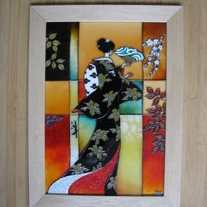 Titokzatos gésa - festett üvegkép, üvegfestmény, üvegfestészet , Lakberendezés, Otthon & lakás, Falikép, Festészet, Üvegművészet, Kuriózum technikával készült 21 x 30 cm üvegfestmény, egy igazán vérbeli, egyedi ajándék.\n\nA fotón s..., Meska