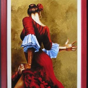 Andalúz táncos - festett üveg kép, üvegfestmény , Lakberendezés, Otthon & lakás, Falikép, Festészet, Üvegművészet, Andalúz táncos - festett üveg kép, üvegfestmény \n-------------------------\nNagyon ütős, kuriózum tec..., Meska