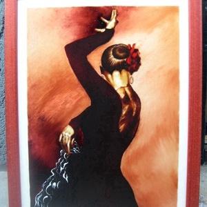 Andalúz táncos IV. - festett üvegkép, üvegfestmény , Dekoráció, Otthon & lakás, Kép, Lakberendezés, Falikép, Festészet, Üvegművészet, Nagyon ütős, kuriózum technikával készült, nagy méretű 30 x 40 cm,  egyedi üvegfestmény, igazán külö..., Meska
