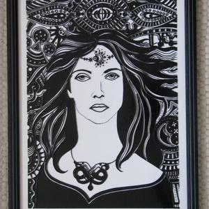 Hold-Asszony - festett üveg kép, üvegfestmény , Lakberendezés, Otthon & lakás, Falikép, Festészet, Üvegművészet, Hold-Asszony - festett üveg kép, üvegfestmény \n--------------------------\nNagyon ütős, kuriózum tech..., Meska