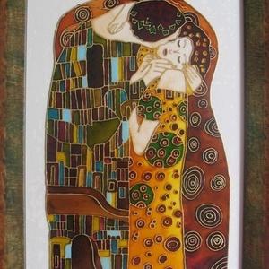 Csók  - festett üvegkép, üvegfestmény - MEGRENDELÉSRE elkészítem, Dekoráció, Otthon & lakás, Kép, Lakberendezés, Falikép, Festészet, Üvegművészet, Gustav Klimt eredeti festménye alapján készült kuriózum technikával készült, 30 x 40  cm,  egyedi üv..., Meska